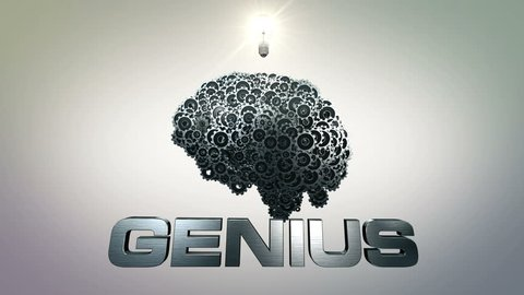 Genius 4k. A clockwork, mechanical brain made of gear wheels and a moment of inspiration illustrating concepts of breakthrough and brainstorming.