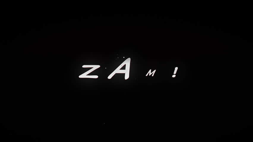 ZAM!4K Animated comic style action word with tiny particles and cartoony explosion. Black and Red look. | Shutterstock HD Video #10673000