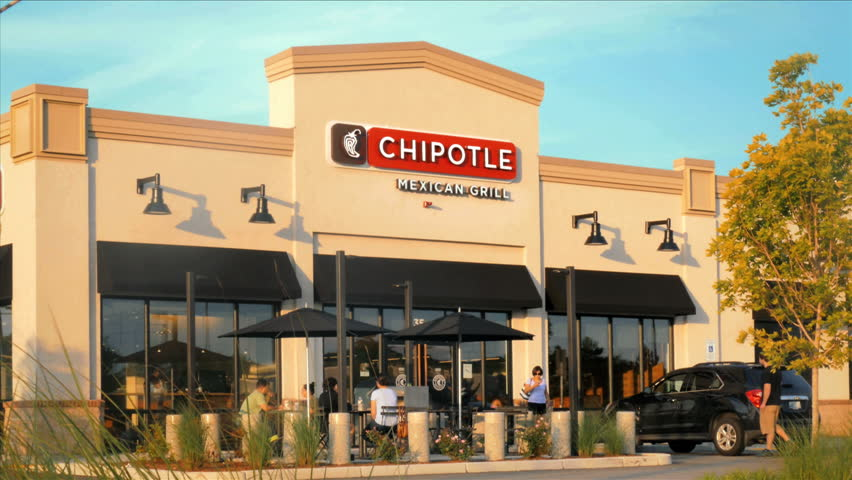SEEKONK, MA - JULY 7, 2015: CHIPOTLE fast food restaurant open for business on July 7, 2015. Chipotle Mexican Grille is one of the first international chains of fast casual dining establishments.