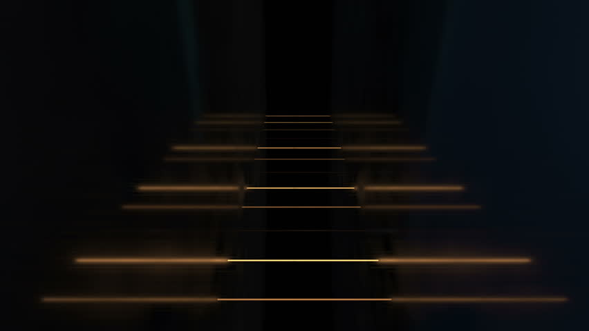 Yellow straight row of fluorescent lamps blink in reflective dark room. Looping animation with still camera angle version 4. | Shutterstock HD Video #10700270