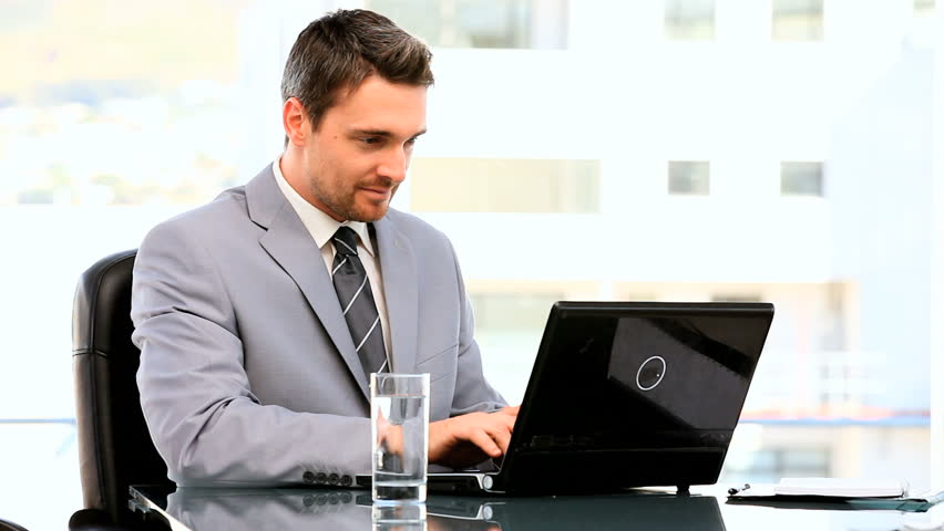 Dark Haired Businessman Working On His Stock Footage Video 100 Royalty Free 1071610 Shutterstock