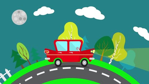 Cartoon car driving on a suburban road at night. Red car rides in the evening landscape. Flat animation.