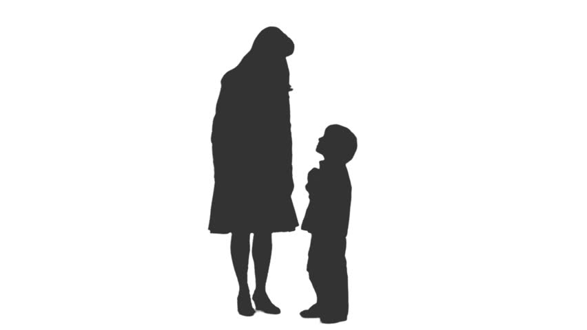 Silhouette Of A Woman Standing And Talking With Her Son ...