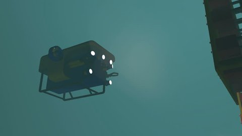 High quality 3D render of an ROV manipulating a control valve on an underwater wellhead. Fictitious ROV, oil and gas equipment. Murky water to emphasize depth, and blurred image for dramatic effect.