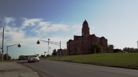 Time lapse of traffic looking towards Saunders County Court, in Wahoo, Nebraska.