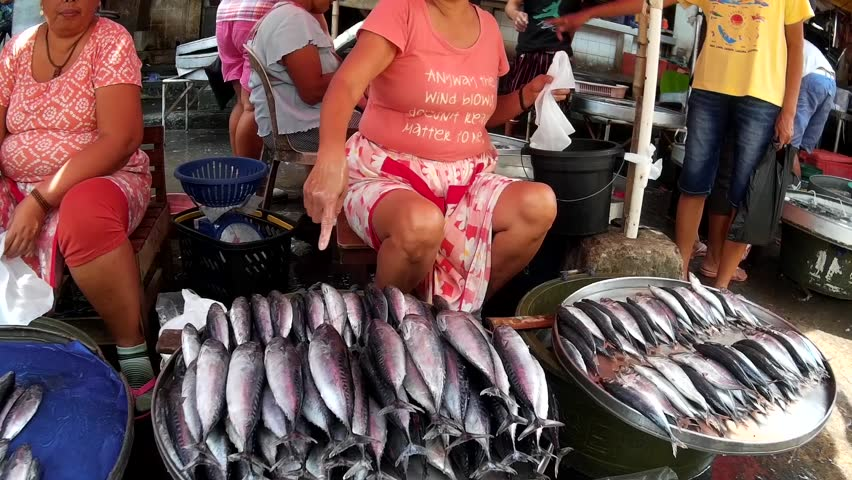 LAGUNA, PHILIPPINES - JULY 16, 2015: Tuna fish sold at street wet market due to lack of market facilities