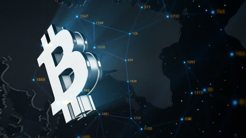 Animation of abstract data with bitcoin symbol in digital space. Global business backdrop. Animation of seamless loop.