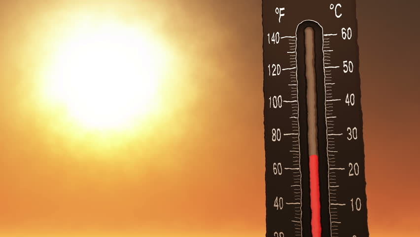 4K Thermometer Fahrenheit Celsius Heat Concept of climate change, global warming, summer heat. 4K 4096x2304 ultra high definition