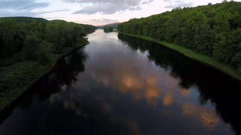 Aerial shot of the Delaware River at sunset near the Delaware Water Gap between Pennsylvania and New Jersey