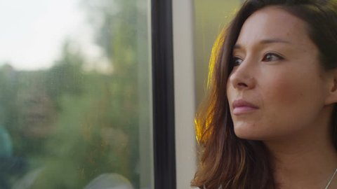 4K Attractive woman in thought looking out of a train window in slow motion, shot on RED EPIC
