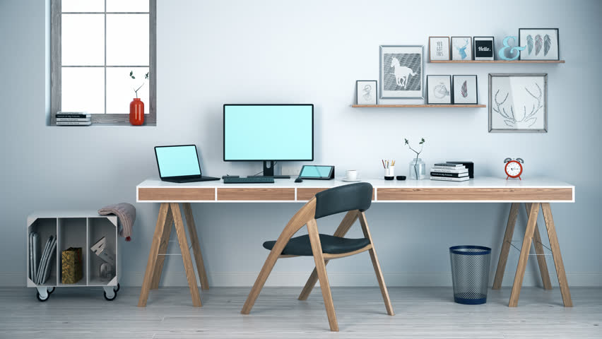 02349 Stylish Workspace With Computer Laptop And Digital Tablet At Home Office | Shutterstock HD Video #11095370