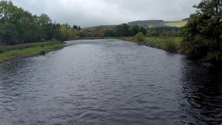 Aerial shot of the River Tweed in Innerleithen, Scottish borders   Shutterstock HD Video #11103050
