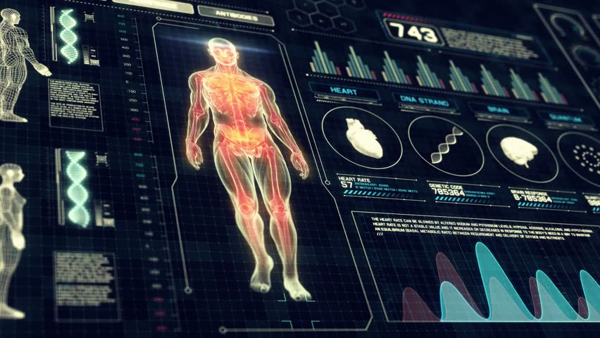 Full Body Anatomy Scan with Futuristic Touch Screen Diagnosis Interface in 3D x-ray - LOOP #11118260