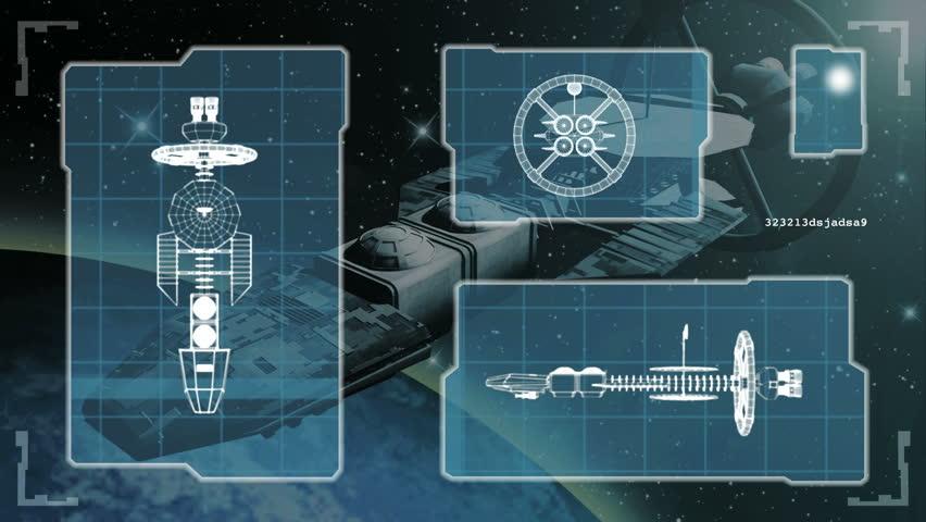 Animated blueprint of a futuristic spaceship.