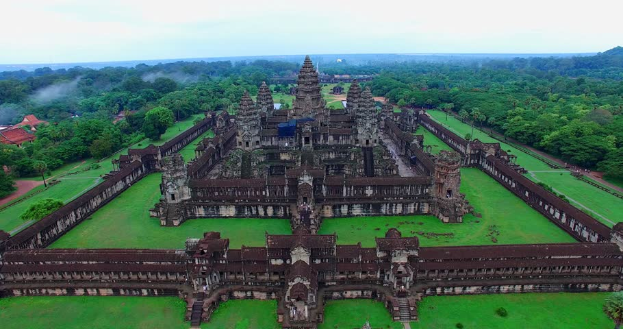 SIEM RIEP,CAMBODIA - CIRCA July 2015 :left dolly aerial of Angkor Wat #11139080