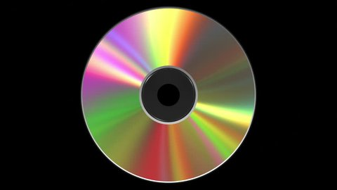 Iridescent CD DVD Disk. 3D Animation. Loop. Alpha Matte. 4k. 3840x2160.
