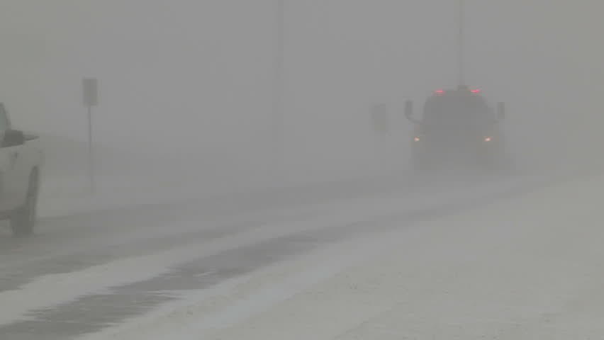 Ontario, Canada January 2014 Snow and blowing snow with blizzard conditions on highway v9  | Shutterstock HD Video #11172230
