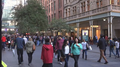 SYDNEY,AUSTRALIA-MAY 2015:Crowds of people in the central shopping area of Pitt St in Sydney, Australia.