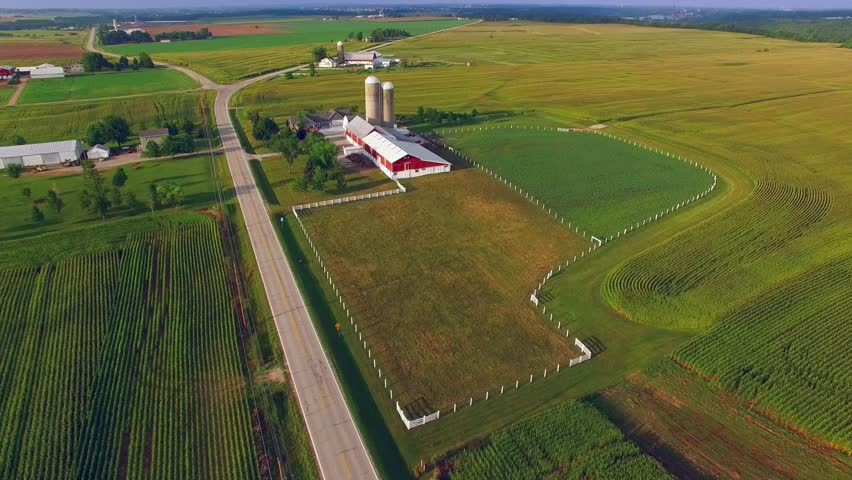 American Heartland; Scenic Rural Midwest Flyover, Landscape With Farms, Silos.