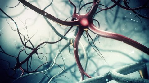 Slow Motion Intro Title Neuron synapse network 3D animation Zoom Out. Infinite Loop inside the human brain for Intro Video or Title credits.