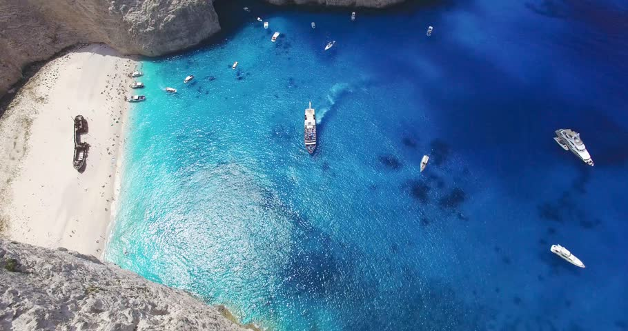 Aerial view of Navagio (Shipwreck) Beach in Zakynthos, Navagio Beach is a popular attraction among tourists visiting the island of Zakynthos