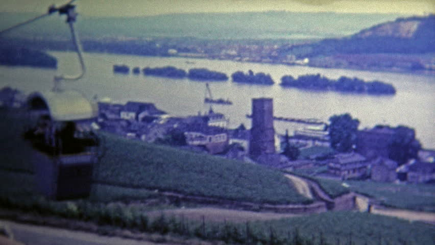 DUSSELDORF, GERMANY -1969: Old town from chairlift provides a great view of the area.