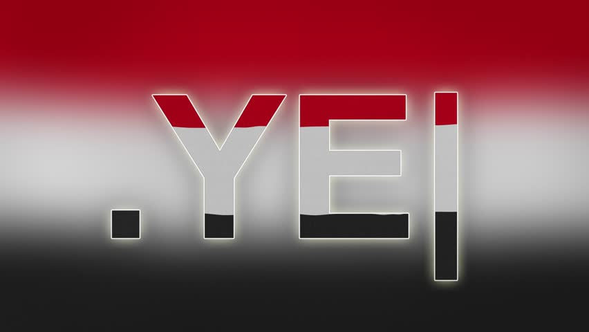 "YE - internet domain of Yemen. Typing top-level domain "".YE"" against blurred waving national flag of Yemen. Highly detailed fabric texture for 4K resolution."