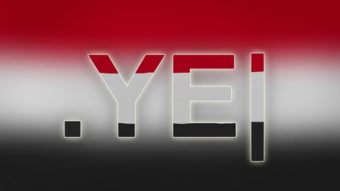 "YE - internet domain of Yemen. Typing top-level domain "".YE"" against blurred waving national flag of Yemen. Highly detailed fabric texture for 4K resolution."
