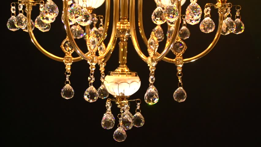 Crystal Chandelier On Black Background Crystals Sway And Sparkle View From The Bottom Up High Speed Camera Shot Full HD 1080p