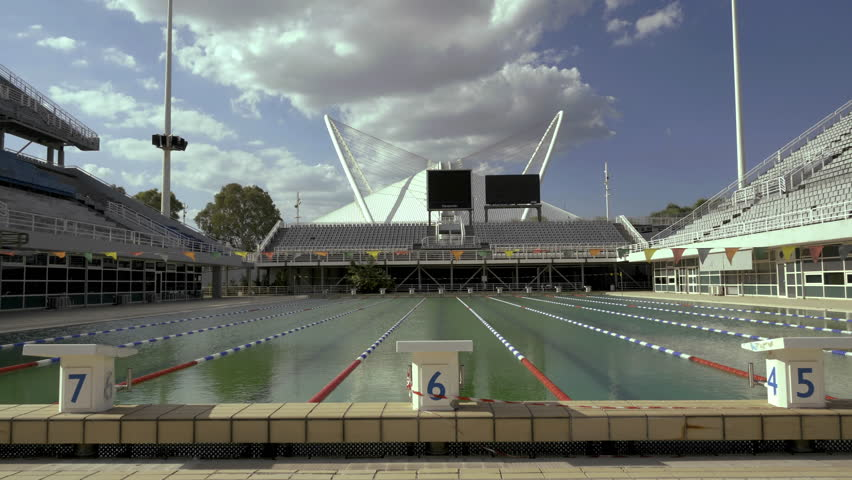 4k athens greek olympic stadium swimming pool august 2015wide shots taken inside the greek olympic stadium oaka built in 2004