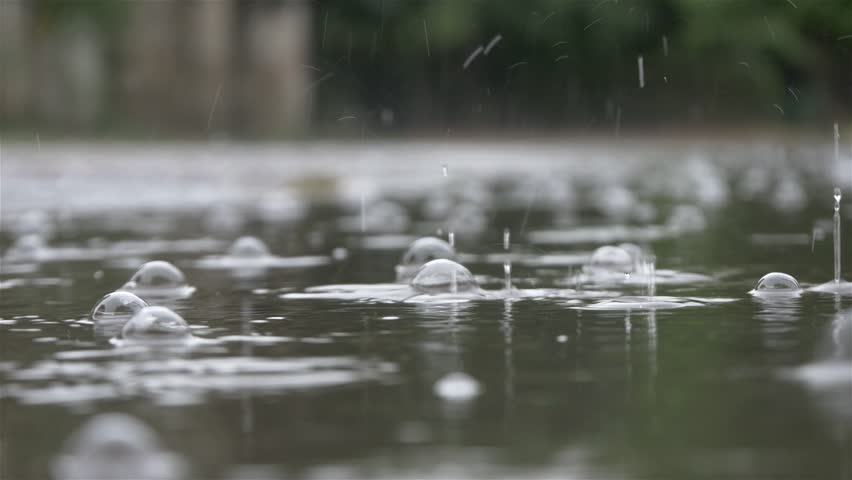 Heavy rain in 4 k, 30 fps.Raindrops falling on the water surface,puddle close up,low angle view,shallow depth of field.Natural disasters,flood,devastation,bad weather,meteorology,rain falling,droplet.