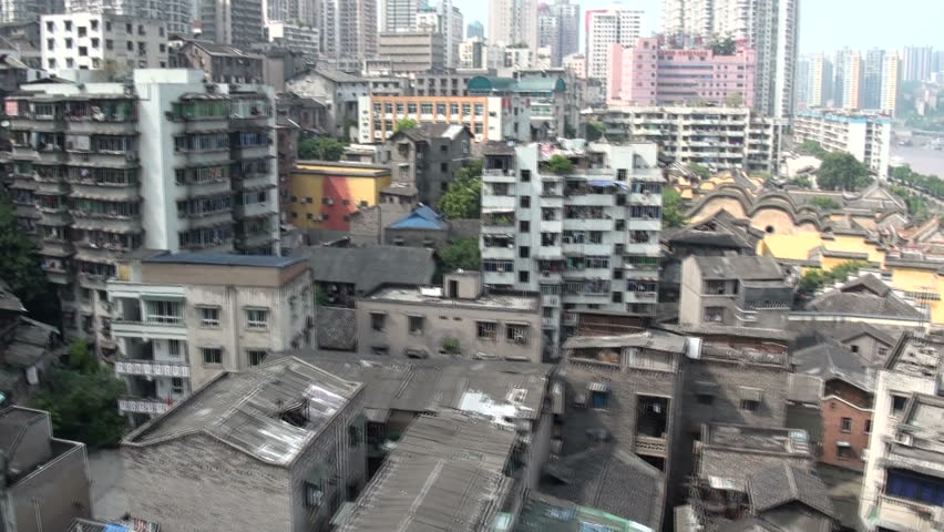 Taken from a cable car, the clip gives an overview of Chongqing's disappearing old centre.