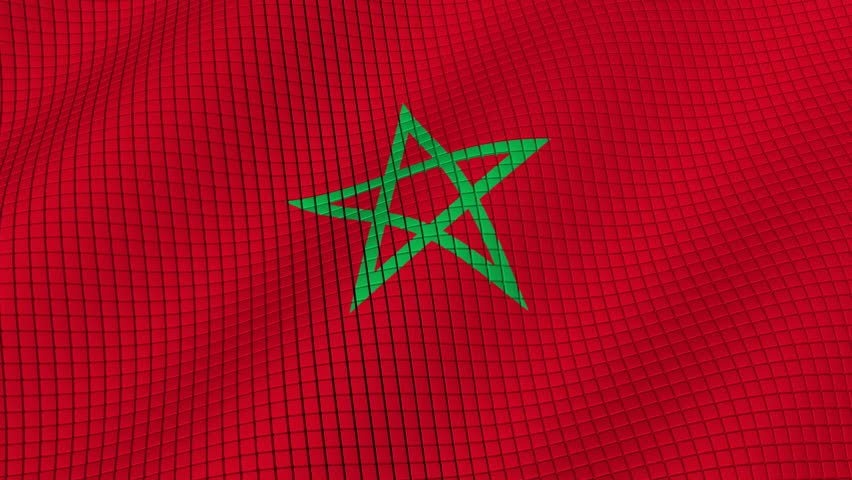 The flag of Morocco is developing waves. Looped. Full HD 1080.