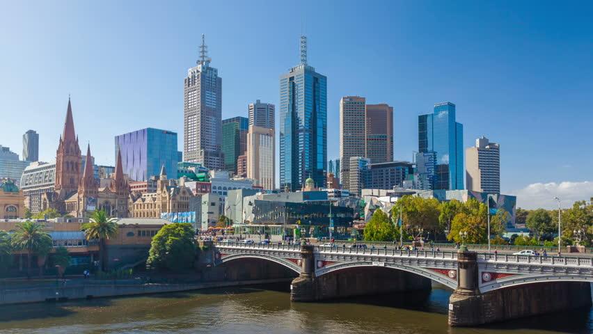 Melbourne, Australia - April 2, 2015: Hyperlapse, motion timelapse, video of