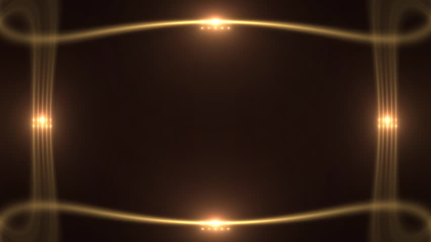 Stock Video Of Unique Golden Glowing Borders With Lights