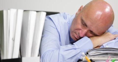 Tired business man desk falling asleep late office answer landline phone  call ( ultra high definition, ultrahd, ultra hd, uhd, 4k, 2160p, 4096x2160 )