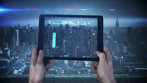 Digital animation of a new tablet interface being used in a big city