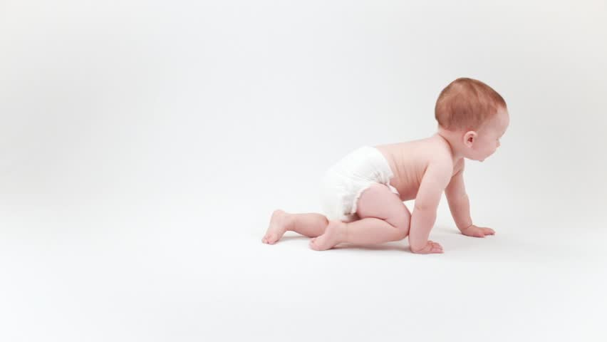Baby crawling across white background | Shutterstock HD Video #11486828