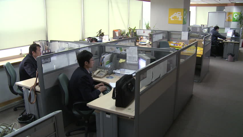 chengdu china march modern chinese office with workers in cubicles working at their computers in chengdu china stock footage video