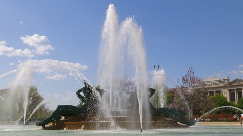 summer day philadelphia logan square fountain 4k pennsylvania usa
