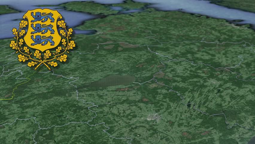 Tartu White Coat Of Arms Animation Map Counties Of Estonia Stock