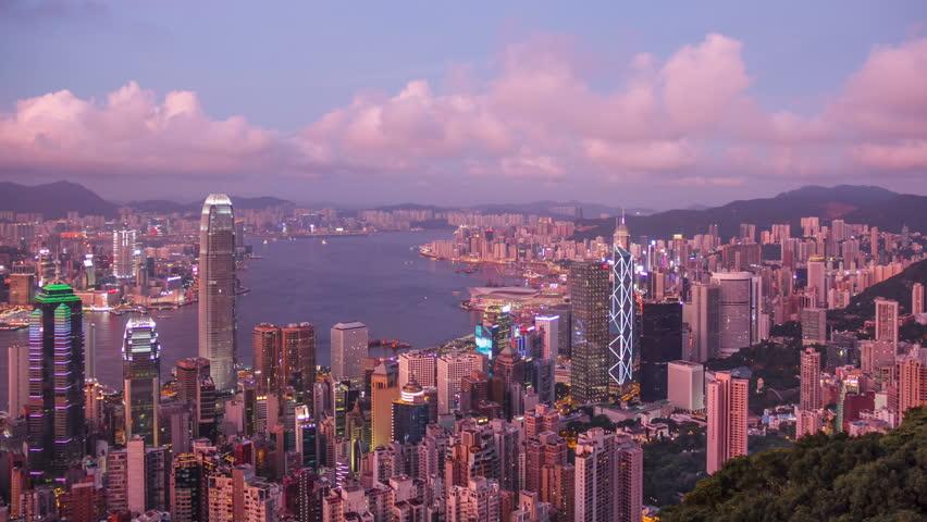 Time lapse sunset in Hong Kong. | Shutterstock HD Video #11535635