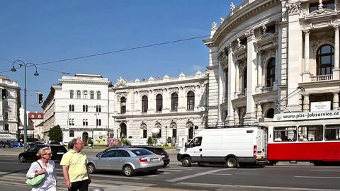 VIENNA, AUSTRIA - AUGUST 05, 2015: Rush Hour Traffic On Downtown Streets Of Vienna City.