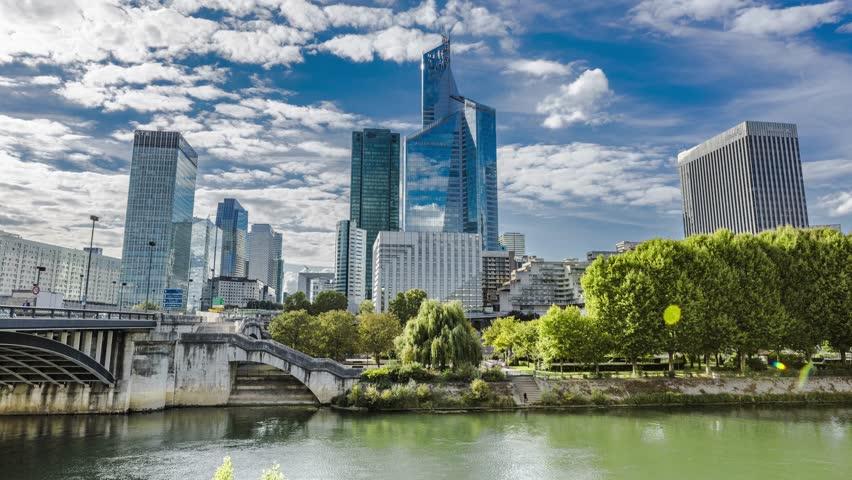 La defense Paris, time lapse, business building, Seine river, cloudy sky ( camera move ) | Shutterstock HD Video #11551739