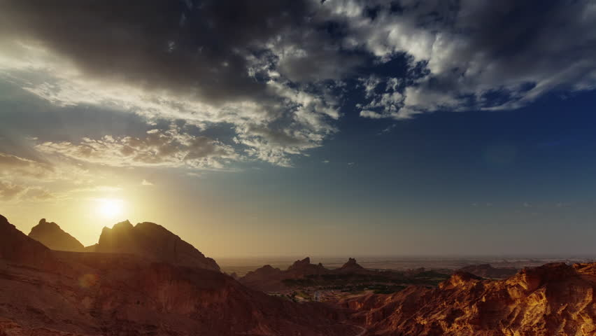 Dubai sunset abu dhabi al ain mountain panorama 4k time lapse uae