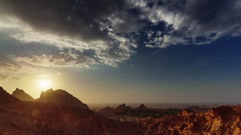dubai sunset abu dhabi al ain mountain panorama 4k time lapse uae