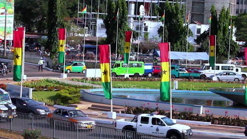 Accra Ghana , July 2014: Ghana flags at Kwame Nkrumah  Circle