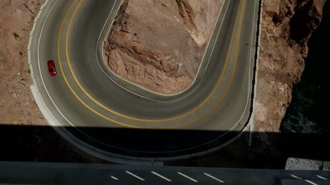 Traffic on a hairpin turn in a canyon