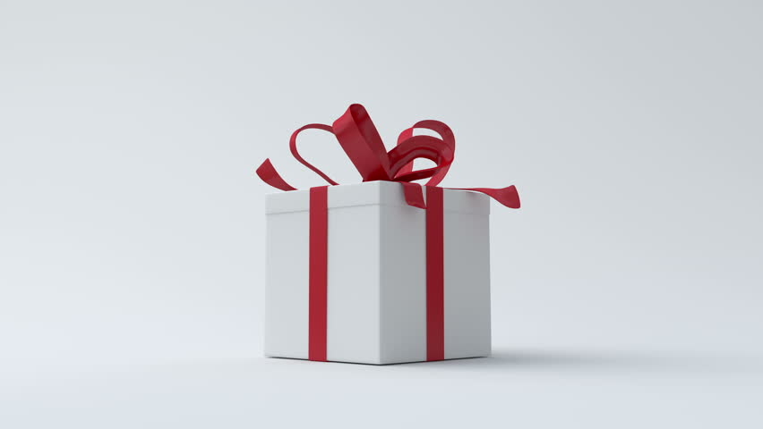 White gift box with red ribbon opening | Shutterstock HD Video #11602040