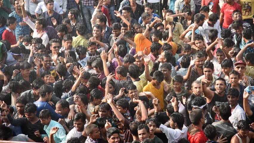 "MUMBAI, MAHARASHTRA, INDIA - SEPTEMBER ?06 - Groups of People ""Govinda"" enjoying the Dahi Handi festival to celebrate God Krishna's Birth in Mumbai, Maharashtra, India. September ?06, ?2015 | Shutterstock HD Video #11604410"